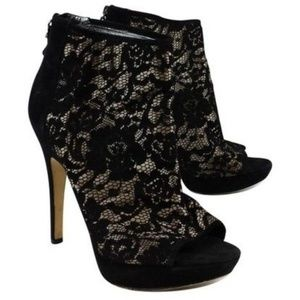 Via Spiga suede lace peep toe high heel booties